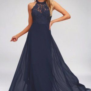 Lulu's Navy Blue Lace Maxi Dress